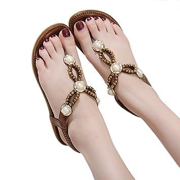 68a363e81ad4 Amazon.com  Hemlock Women Size 4.5-10 Flat Sandals Bohemia Pearl Sandal  Shoes (US 8.5