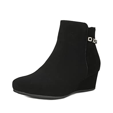 6236a691abba DREAM PAIRS Women s Felicia Black Low Wedge Ankle Bootie Size 5 B(M) US