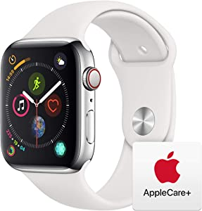 Apple Watch Series 4 (GPS + Cellular, 44mm) - Stainless Steel Case with White Sport Band with AppleCare+ Bundle