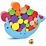 Yapeer バランスゲーム イルカ 積み木 木製 ボードゲーム 知育玩具 サイコロ付き ブロック