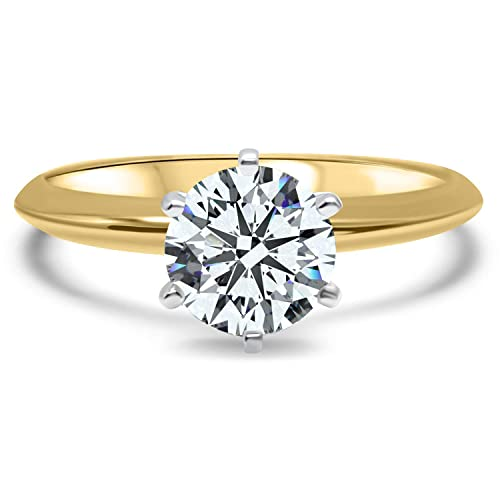 6 Prong Set Solitaire Moissanite Ring Round White 6.5 MM Moissanite Engagement Ring Wedding Ring Promise Ring For Women/'s In 14k Yellow Gold