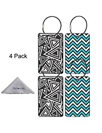 Luggage Tag, Wisdompro® Set of 4 PVC Metal Travel Suitcase ID Identifier Name Tag Label Set with Stainless Wire Ring (Triangle+Ripple)