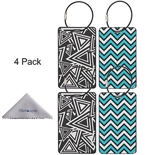 Luggage Tag, Wisdompro 4 Pack PVC Luggage Tag with Metal Wire Ring for Travel Identifier and Suitcase Label(Triangle+Ripple) ()