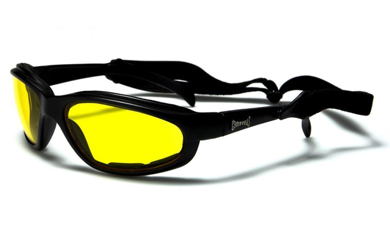 Choppers Slim-line Moto occhiali da sole neri / Occhiali - lenti ambra gialla chopy
