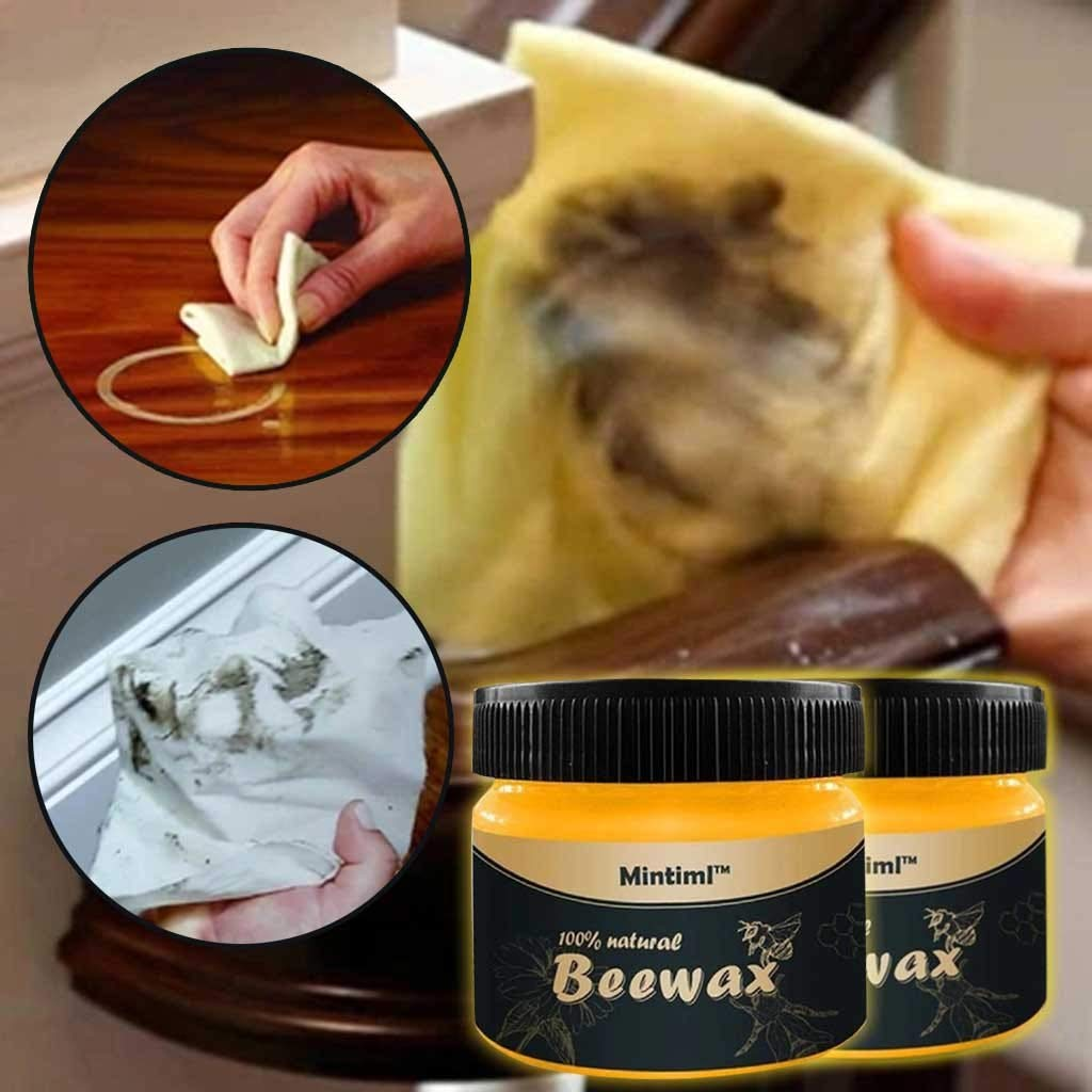 All Natural Multipurpose Wood Seasoning Beewax,Waterproof Wear-Resistant Polished Beewax for Wood Furniture Cleaning Care Cleaner Beautify Protect Enhance Shine (2×Beewax)