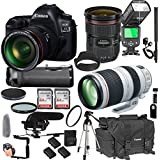 Canon EOS 5D Mark IV With 24-70mm f/2.8 L IS II USM + 100-400mm f/4.5-5.6 L IS II USM + 128GB Memory + Pro Battery Bundle + Power Grip + Microphone + TTL Speed Light + Pro Filters,(24pc Bundle)