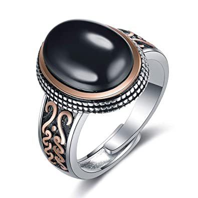 JiangXin Or rose Argent Sterling 925 Bague Homme Luxe Classique Agate Ovale  ring taille de Bagues ee07b403966b