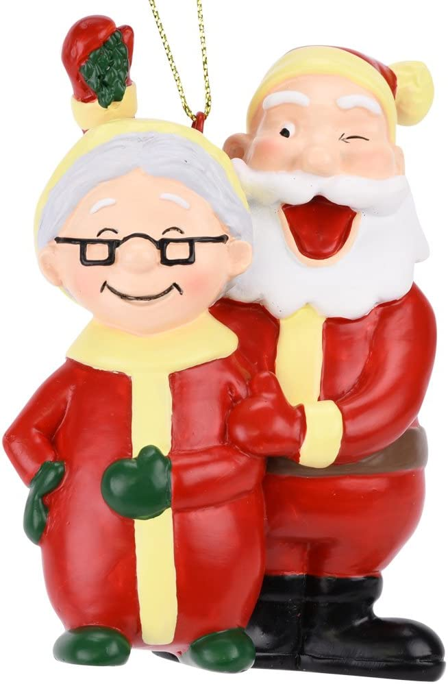 Tree Buddees Santa and Mrs. Claus Under The Mistletoe Kissing Christmas Ornament