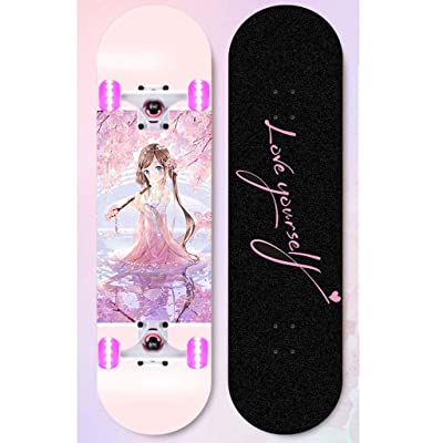Surfing Street Highway Pink Comic Fantasy Girl Skateboard Beginner Double Warped Glide Deck Teens Four-wheel Skateboard Student Dancing Skateboard With Light Up Wheels Kids U-shaped Profession Skatebo : Sports & Outdoors