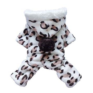 7c75e0846 niceEshop(TM) Lovely Cozy Coral Fleece Leopard Print Dog Coat Jumpsuit  Hoodie Pet Clothes