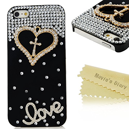 Iphone SE Case, Iphone SE 5S 5 Case - Mavis's Diary Luxury 3D Handmade Crystal Heart Rhinestone Bling Clear Case Cover for Iphone SE 5S 5 Swith Soft Clean Cloth (Heart with Cross Black Case)