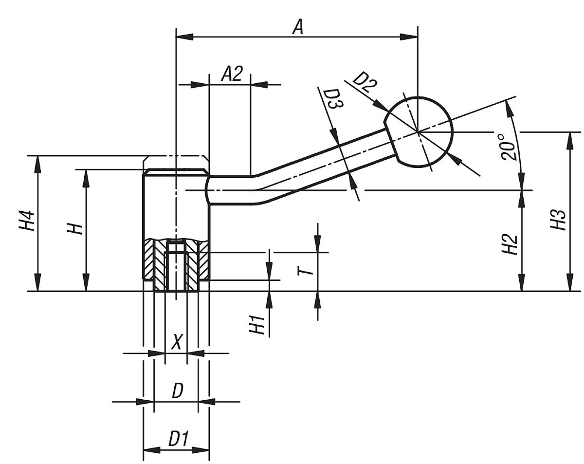 / Pack of 1 Complete: /k0108.4241 Tilt: 20//° Steel Tension Lever Size 4/M24
