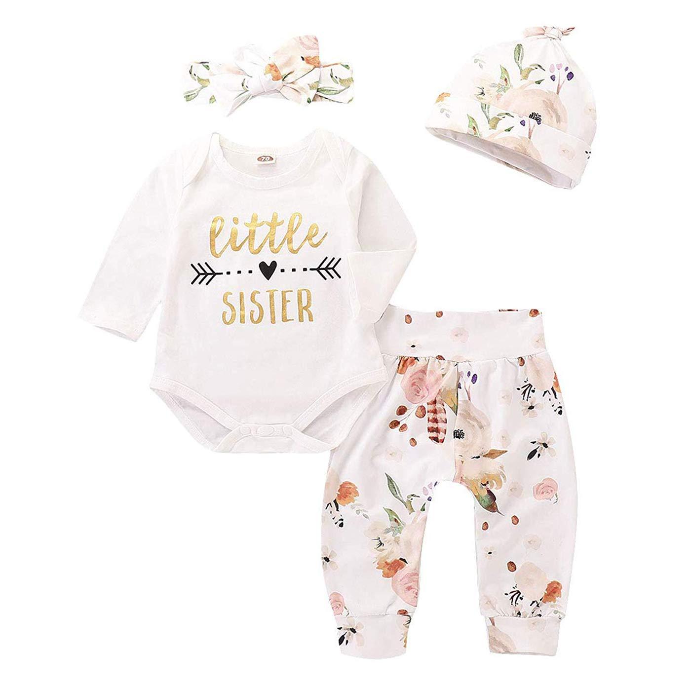 39822d9ba06 ❀❀ Design Litter sister printed romper + flower reindeer pants+floral  hat+bowknot headband ❀❀ Style Lovely cute style