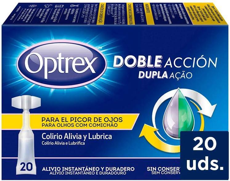 Optrex Colirio Monodosis Doble Acción para Picor de Ojos - 20 Unidades