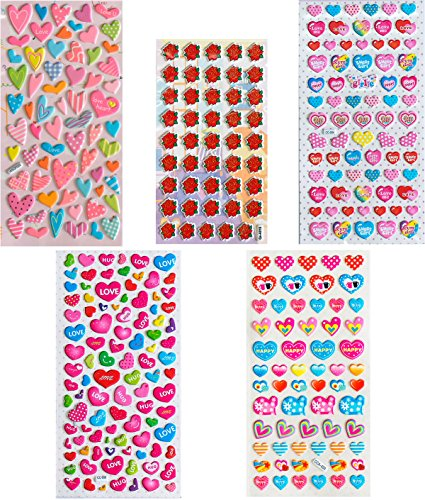 Dimensional Heart (Jazzstick 5-sheet Puffy Valentines Hearts & Rose Dimensional Colorful Sticker for Kids Boy Girl Scrapbook Value Pack Bulk 011)