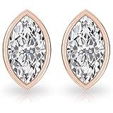 Bezel Set 0.36 CT Solitaire Marquise Diamond Stud Earring, Unique IGI Certified Diamond Minimal Earring, Bridesmaid…