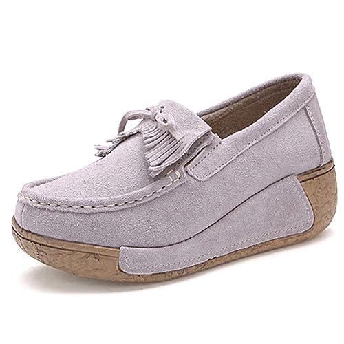 Mujer Mocasines de Cuero Gamuza Zapatos Plataforma de Cuña Moda Loafers Creepers: Amazon.es: Zapatos y complementos