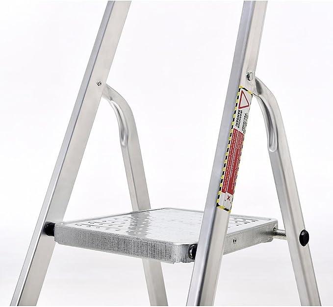 ORYX 23010002 Escalera Aluminio 4 Peldaños Plegable, Uso doméstico, Antideslizante, Ligera y Resistente: Amazon.es: Bricolaje y herramientas