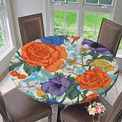 PINAFORE HOME Simple Modern Round Table Cloth Vintage Vector with Roses Anemones and Wildflowers for Daily use, Wedding, Restaurant 35.5