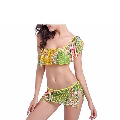 8ab96dfeacc60 Amazon.com  Sexy One Shoulder Ruffle Floral Print Bikini Two Piece Swimwear  Trendy Style Swim Suits Beach Bathing  Clothing