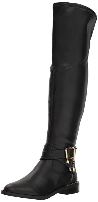Amazoncom Guess Womens Dalary Buckle Riding Boots Knee High
