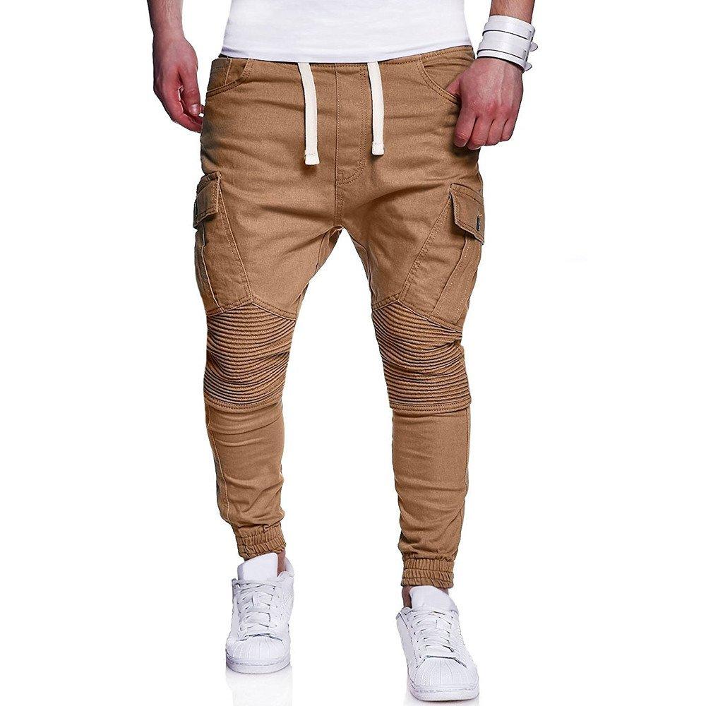 Farjing Men's Sweatpants Clearance,Fashion Men's Sport Camouflage Drawstring Pant Casual Loose Lashing Belts Sweatpants (XL,Khaki)