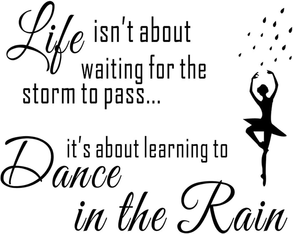"Wall Décor - Life Isn't About Waiting for The Storm to Pass Its Learning to Dance in The Rain Wall Decal, Vinyl Wall Sticker Mural Inspirational Quote for Bedroom, Living Room, Kitchen (22.0""×15.7"")"