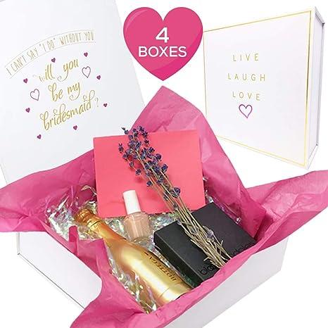 Juego de 4 cajas vacías para dama de honor, cuadradas, con tapas, papel y cartón, para regalos y regalos, como mini botella de vino: Amazon.es: Juguetes y juegos