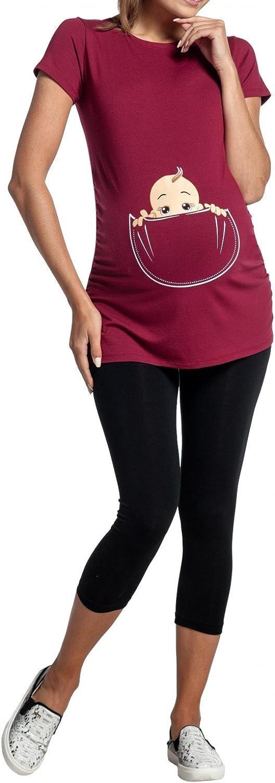 501p Happy Mama Donna Maglietta Premaman T-Shirt Maglia Bambino in Tasca Stampa