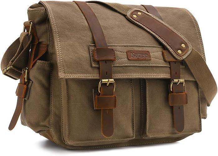 Kattee Leather Canvas Camera Bag Vintage DSLR SLR Messenger Shoulder Bag Army Green