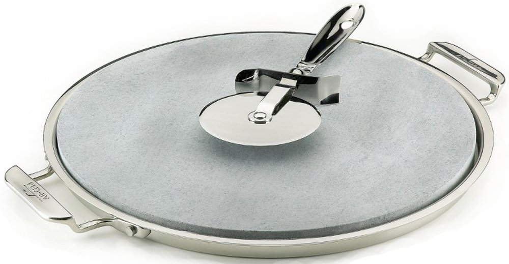 All-Clad 00280 Stainless Steel Serving Tray with 13-inch Pizza-Baker Stone Insert and Pizza Cutter, Silver 8400000026