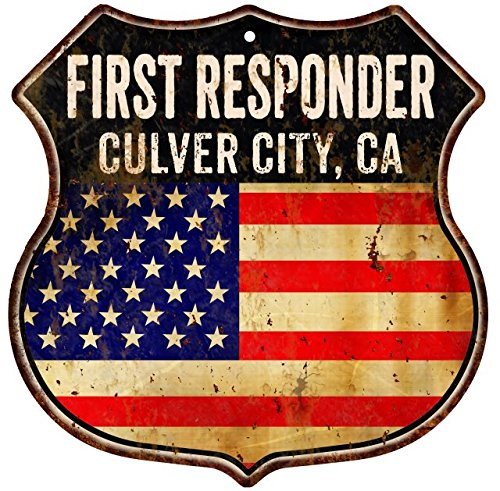 CULVER CITY, CA First Responder American Flag 12x12 Metal Shield Sign - City Of Ca Culver City