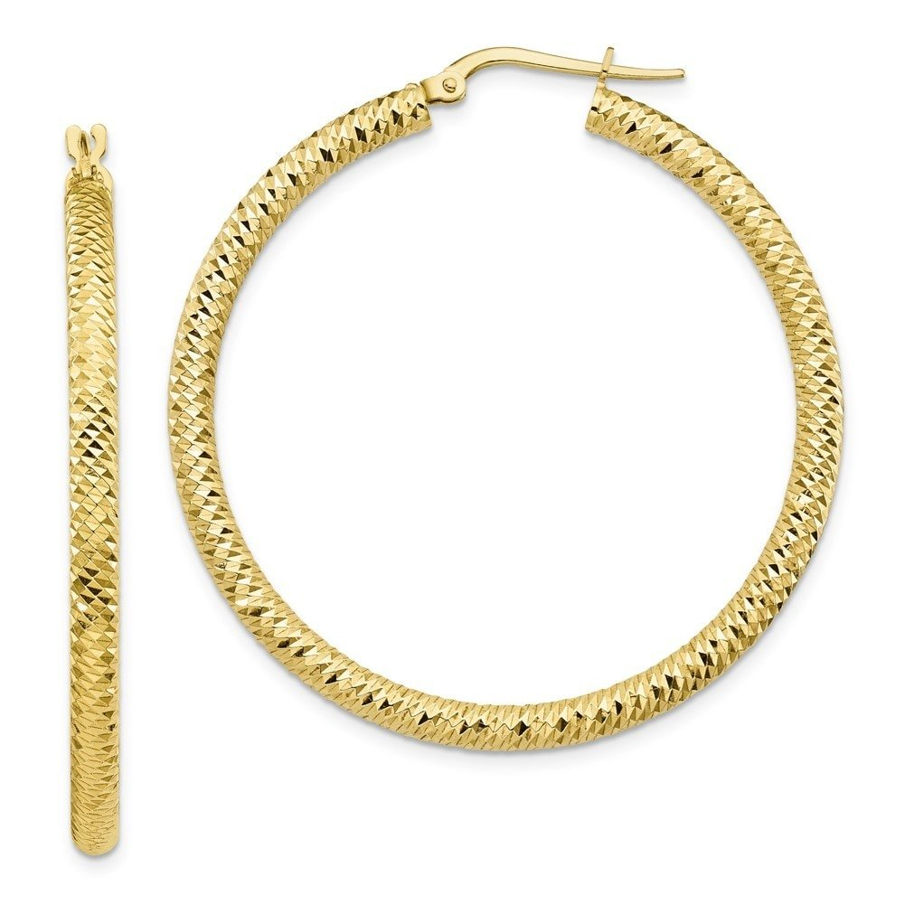 Leslie's 10k Yellow Gold 3x35 D/C Round Hoop Earrings 10LE464