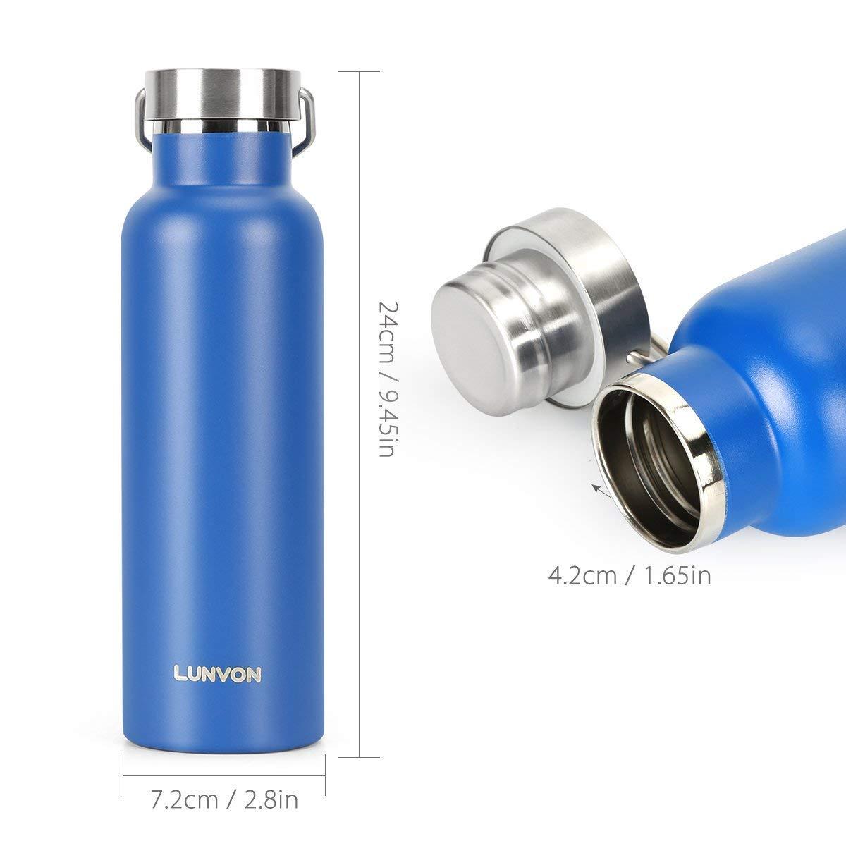Lunvon Sportflasche 600ML Auslaufsicher Wasserflasche, 24 Std Kühlen ...