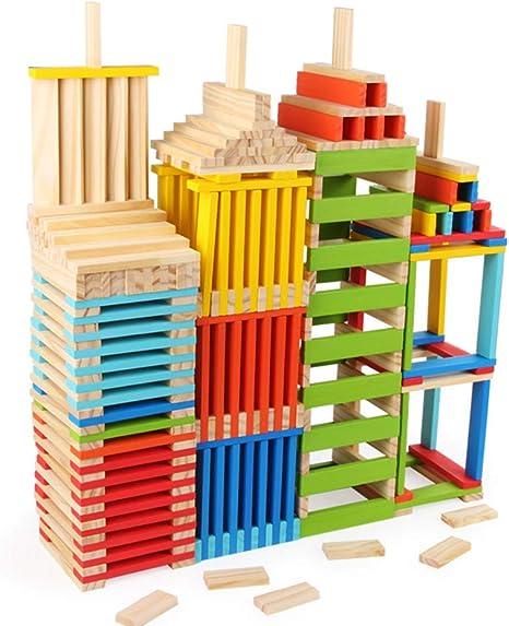 MKYVERAY Torre de Bloques Infantil de Madera Colores – Juego de ...