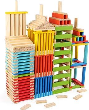 MKYVERAY Torre de Bloques Infantil de Madera Colores – Juego de Mesa Educativo para Niños y Niñas de 3 a 8 años – Ideal como Regalo para Compartir Entre Padres e Hijos: