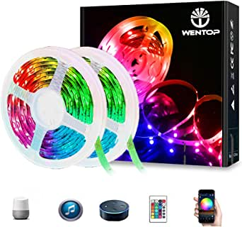 WenTop LED Strip Lights, 65.6ft WiFi Wireless Smart Phone Controlled Strip Light Kit 5050 RGB 600LEDs Lights with Power Supply Rope Light,Working with Android and iOS System,IFTTT, Google Assistant