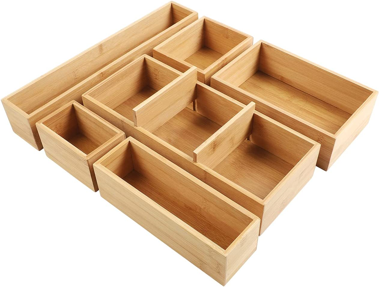 Kootek Adjustable Bamboo Drawer Organizers Utensil Tray Kitchen Storage Organizer 6-Piece Cutlery Silverware Holder Bins Container with Removable Dividers for Desk Closet Bathroom Office