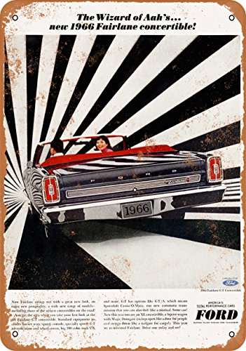 Wall-Color 9 x 12 METAL SIGN - 1966 Ford Fairlane GT Convertible - Vintage Look (1966 Fairlane Convertible)