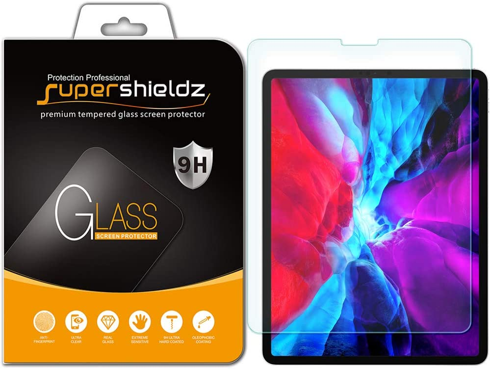 Supershieldz for Apple New iPad Pro 12.9 inch (2020 and 2018 Model, 4th/3rd Generation) Tempered Glass Screen Protector, 0.33mm, Anti Scratch, Bubble Free