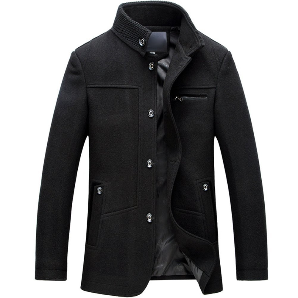 080f2cac65831 Moin Stand Collar Casual Cotton Single Breasted Trench Coat Wool Jacket  Men  Amazon.co.uk  Clothing