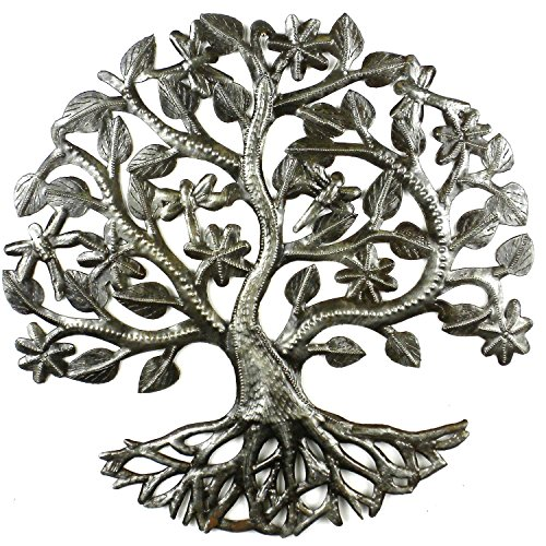 Croix des Bouquets 14 inch Tree of Life Dragonfly Metal Wall Art