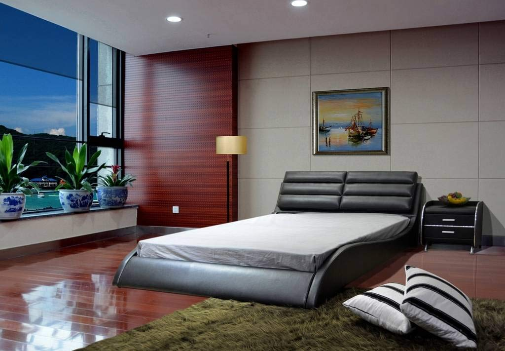 Greatime New Arrival Modern Upholstered Bed, Eastern King, Black by GREATIME