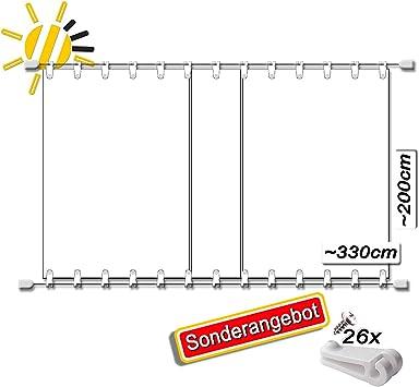 WH Toldo Tensor de Cuerda Aprox. 330 x 200 cm Pergola Komplett-Set en Blanco: Amazon.es: Jardín