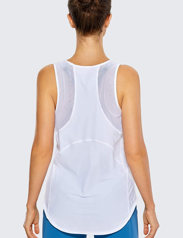 CRZ YOGA Femme D/ébardeur Fitness Running T-Shirt Dos Nageur avec Maille
