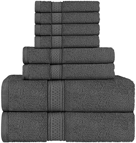 Utopia Towels 8 Piece Towel Set, Grey, 2 Bath Towels, 2 Hand Towels, and 4 Washcloths (Boss Orange 31)