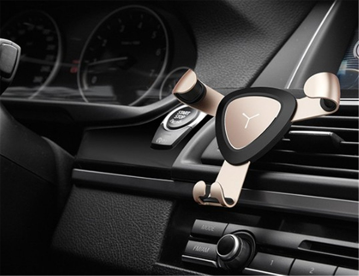 Fochutech Car Air Vent Cell Phone Holder Mount For Universal GPS Smartphones iPhone Mobile Claw One-Handed Performance Three-jaw (Gold)