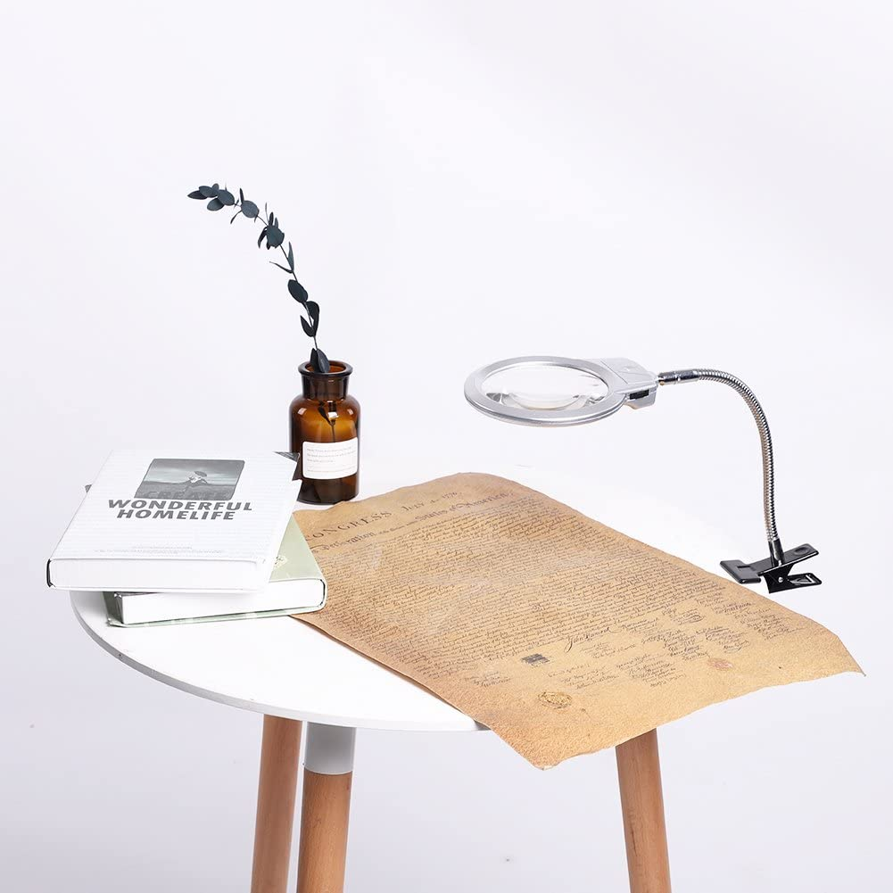 Scrivania con lente dingrandimento illuminata,lampada da scrivania con lente dingrandimento illuminata con lente di ingrandimento pieghevole da tavolo nuova lente dingrandimento