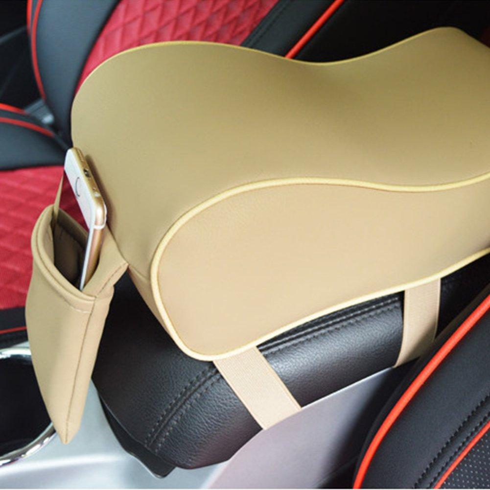 Negro SODIAL Almohadilla del apoyabrazos del coche de cuero PU Espuma de memoria Cubiertas del apoyabrazos auto universal con bolsillo del telefono para BMW//Audi//Honda