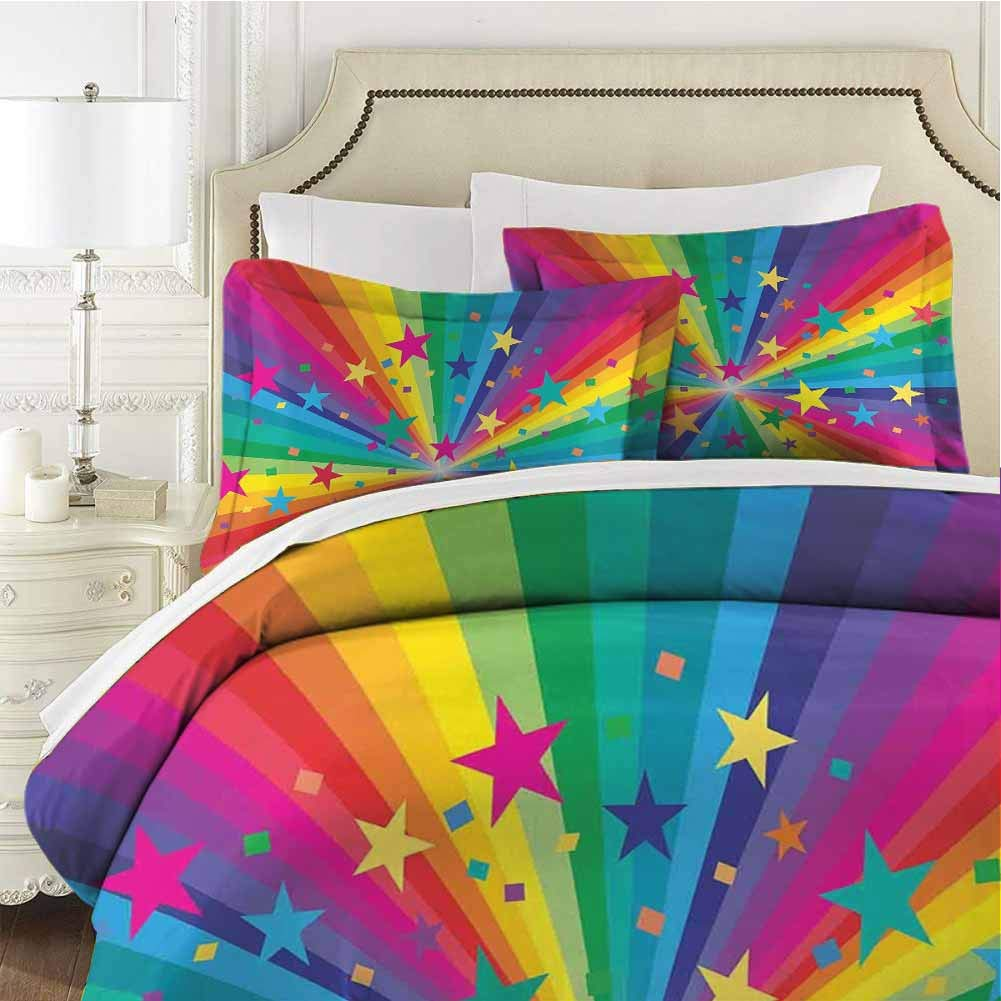 Abstract Home Bedding 3-Piece Twin Bed Sheets Set,Bedding Set Full All Season Quilt Set Abstract Rainbow and Stars Confetti Ultra Soft and Breathable Comforter Cover